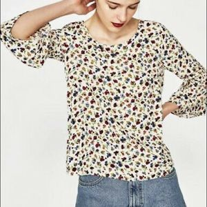 Zara Trafaluc Floral Bell Sleeve Blouse Size Small